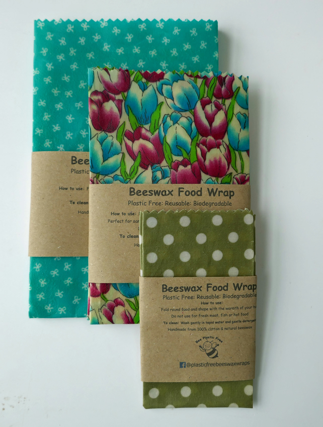 Natural Beeswax Food Wraps. Reusable, Eco-friendly. Set of 3