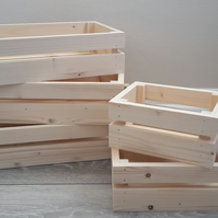 Sturdy Shallow Wooden Crate Storage Box Hamper