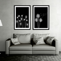 Black and White Dandelions Downloadable Print Set