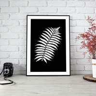 Black and White Leaf Downloadable Print
