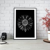 Black and White Sunflower Downloadable Print