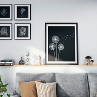 Black and White Flowers Set Downloadable Print Set