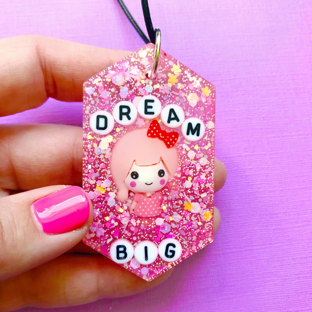Dream big resin necklace, glittery pink resin pendant