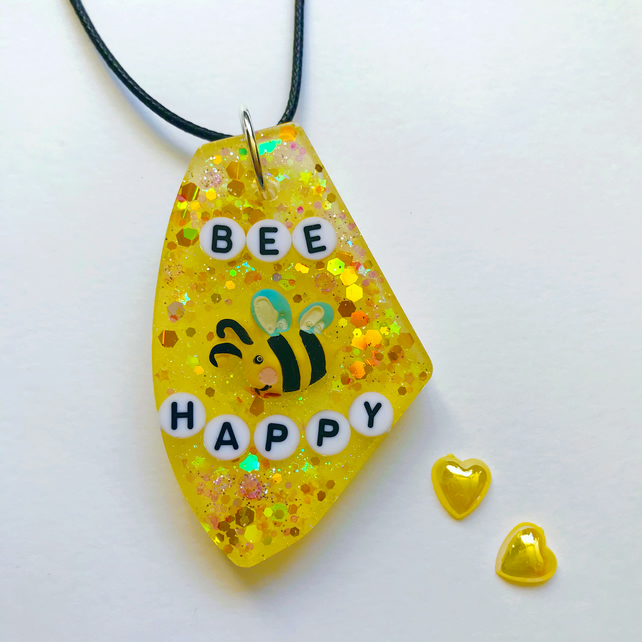Bee resin necklace, glittery bee resin pendant