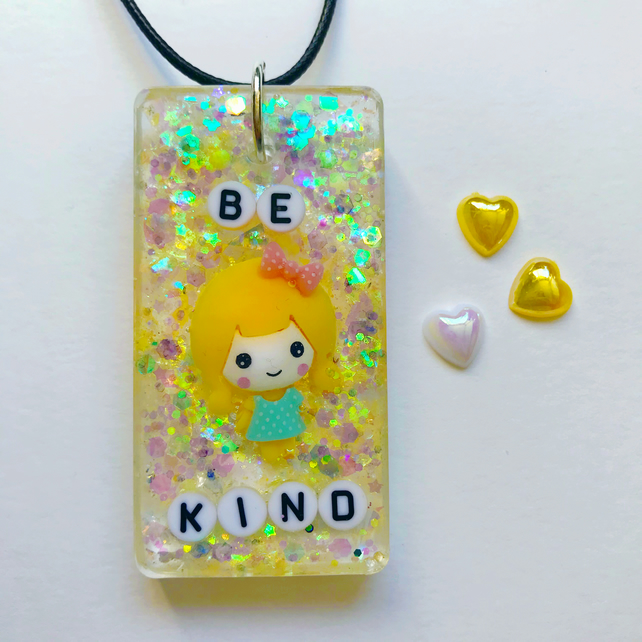 Be kind resin necklace, glittery yellow resin pendant