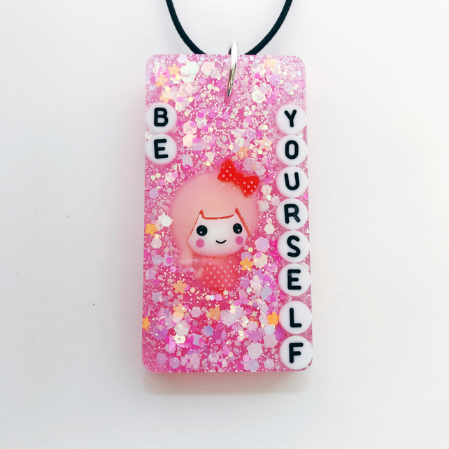 Be yourself resin necklace, glittery pink resin pendant