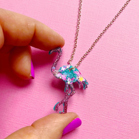 Flamingo resin necklace, glittery resin necklace, tropical flamingo necklace