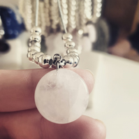 Clear Quartz Gemstone Pendant Necklace. Handmade. The perfect Gift. Therapeutic.