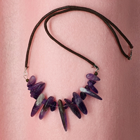 amethyst and waxed cord necklace