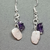 CLEARANCE - Peruvian pink opal and Zambian amethyst drop earrings