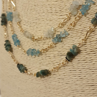 Aquamarine, sky blue apatite and Sakota emerald layered necklace