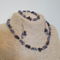 Set of tanzanite and iolite necklace, bracelet and matching earrings