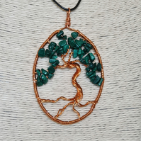 Malachite and copper tree of life pendant