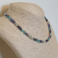 Tanzanite, iolite, sky blue apatite and aquamarine necklace with sterling silver