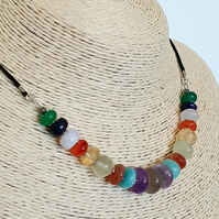 Multi gemstone extendable cord necklace