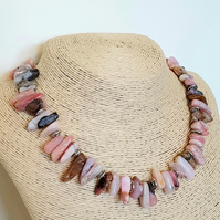Peruvian pink opal and sterling silver necklace