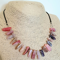 Peruvian pink opal and waxed cord extendable necklace