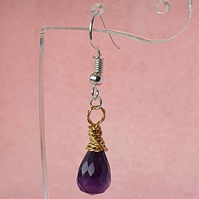 Purple amethyst and gold wire wrapped drop earrings