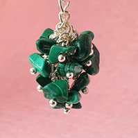 Malachite nugget cluster - pendant or keyring and bag charm options