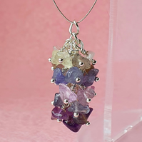 Multigem ombre nugget cluster - pendant or keyring or bag charm options