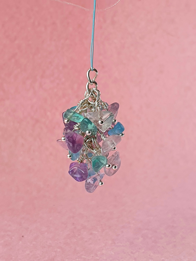 Pink amethyst and blue apatite nugget cluster - pendant, keyring or bag charm