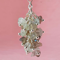 Aquamarine and labradorite nugget cluster - pendant, keyring or bag charm option