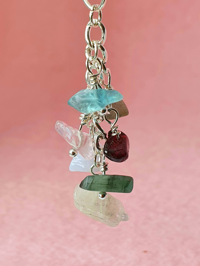 Multigem nugget cluster drop - pendant, keyring or bag charm options