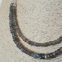 Double strand adjustable labradorite necklace