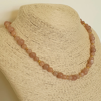 Sunstone and gold plated toggle clasp necklace