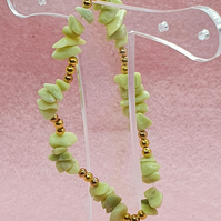 Serpentine nugget and gold spacer bead elasticated stretchy bracelet