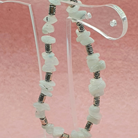 Rainbow moonstone and Tibetan silver elasticated stretchy bracelet