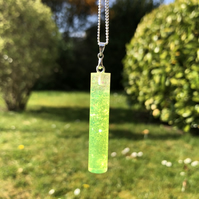 Neon Yellow Uv Resctive Resin Pendant Necklace