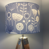 Retro floral lampshade in blue with white , grey and Navy flowers