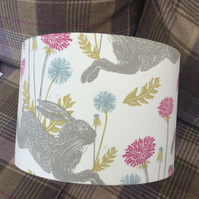 Hare lampshade in white with grey hares and pink and blue flowers