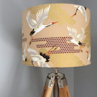 Japanese cranes lampshade in gold. white and black