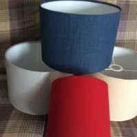 handmade linen  fabric shades in plain colours