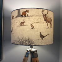 woodland creatures lampshade  in beige and brown