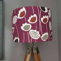 Deep pink retro flower print shade