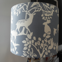 woodland creature fabric lampshade in blue and white