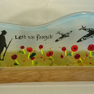 Lest we forget fused glass panel on oak stand