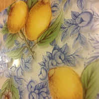 Lemons and Blue Leaves Pattern Coaster
