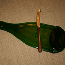 Melted Green Champagne Bottle Cheese Board - With or Without Cheese Knife