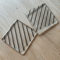 Diagonal Lines Black and Clear Glass Coaster