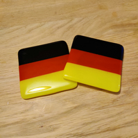 German or Belgian Flag Coaster - Black Red and Yellow Stripes