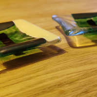 1 Pair - Green, Metallic Blue, Cream, Clear and Black Candle Dish