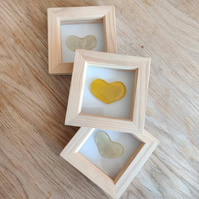 Small Yellow Glass Heart in Deep Box Frame