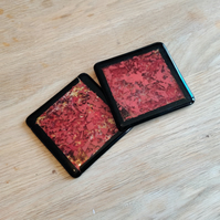 Abstract Red Coaster with Black Border