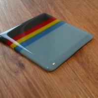 Stripey Coaster - Pale Blue, Blue, Yellow, Red and Dark Grey