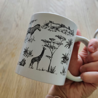 Traditional Safari Animal Pattern Mug in Blue or Black