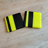 Bright Yellow and Black Striped Coaster